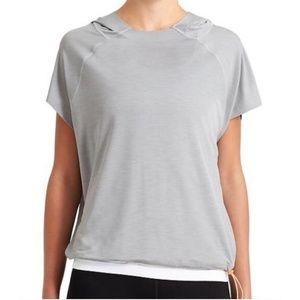 Athleta Tops - Athleta Navy Uppercut Short Sleeve Hoodie Top - XL